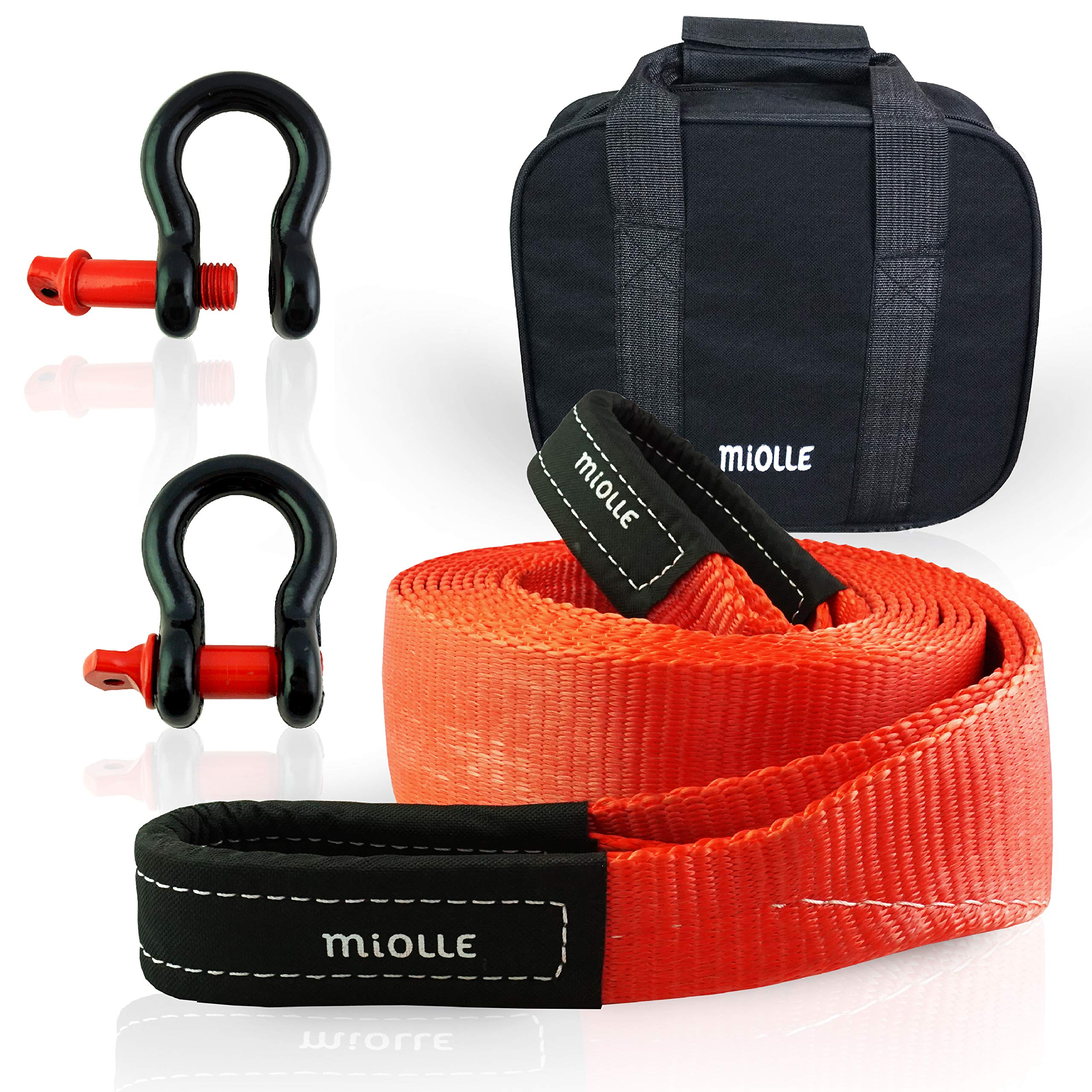 Miolle Tow Strap 3''x20' (30000lb) with Loops and D-Hook Shackles - Recovery Rope Heavy Duty - Towing Straps - Snatch Ropes for Truck and Car by Miolle