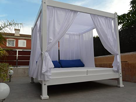 estrucmader - Cama balinesa con Cama de 2x2m, Nogal-Blanco-Blanco: Amazon.es: Jardín