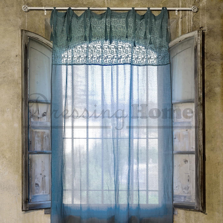Vorhang Gardine Landhaus Shabby Chic - Crochet - 140x290 - Blau - 55 ...