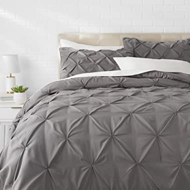 AmazonBasics Pinch Pleat Comforter Set - Full/Queen, Dark Grey