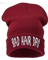 Beanie Hats - Bonnet -  Femme Noir --bad hair day dark red