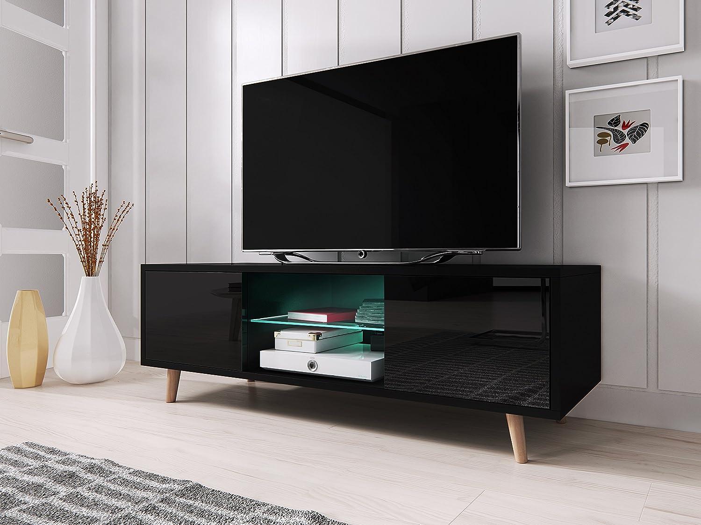 Sweden Meuble Tv Style Scandinave Noir Mat Avec Noir Brillant  # Meuble Tv Vero Scandinave