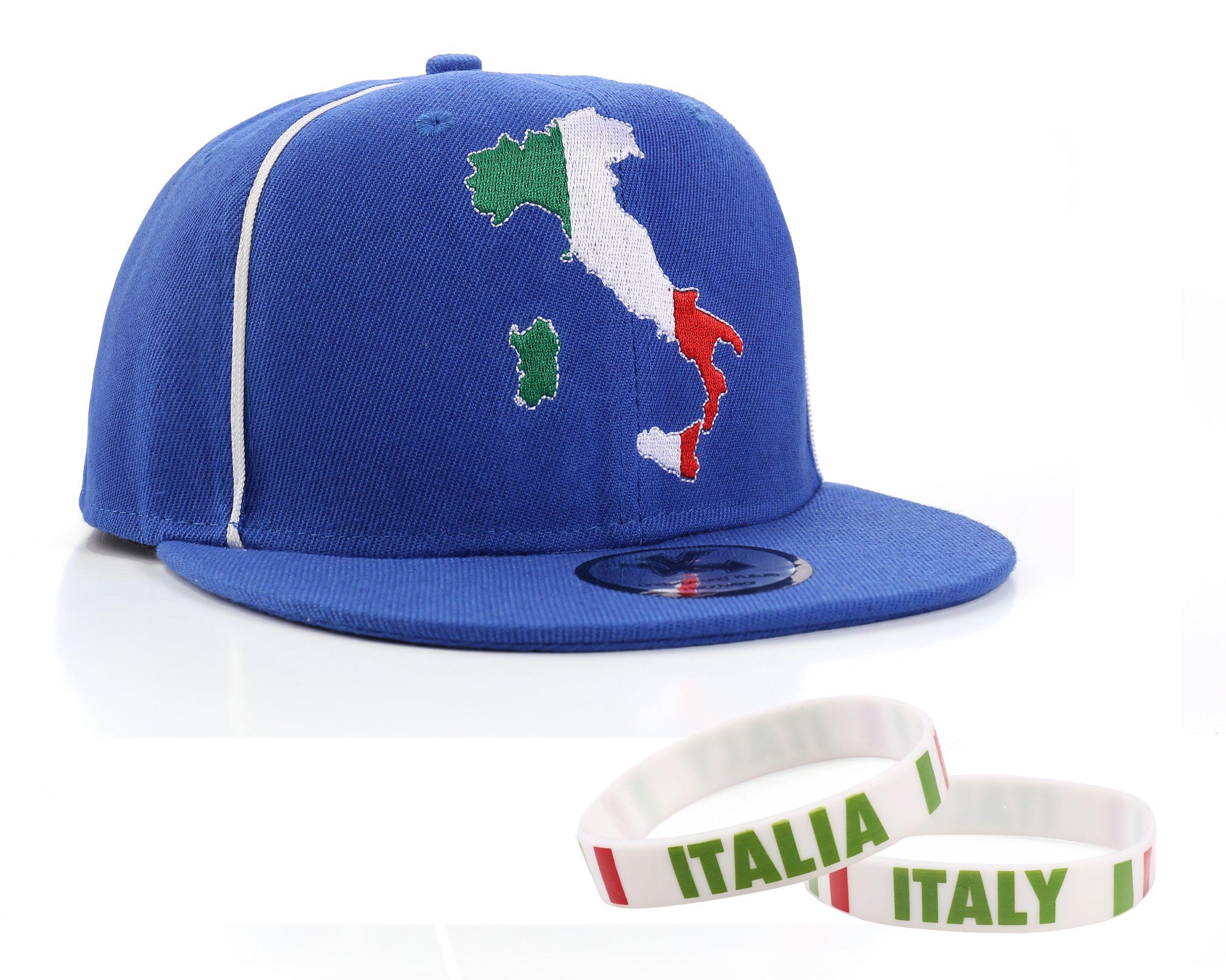 Italy Duo Pack - Flat Peak Snapback Baseball Cap & 2 x Italian Wristbands