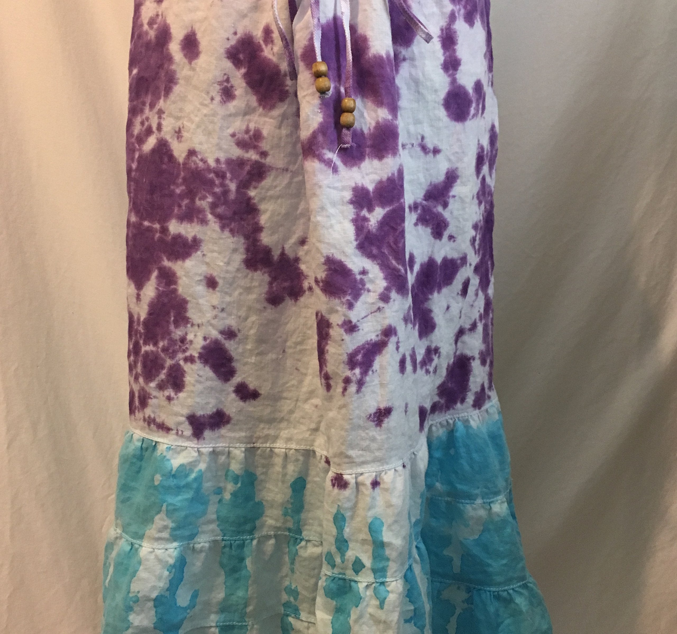 Women's Size 10 Hand Dyed Tie Dye Long Linen Skirt
