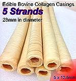 5 x Edible Bovine Collagen Casings 28mm in Diameter