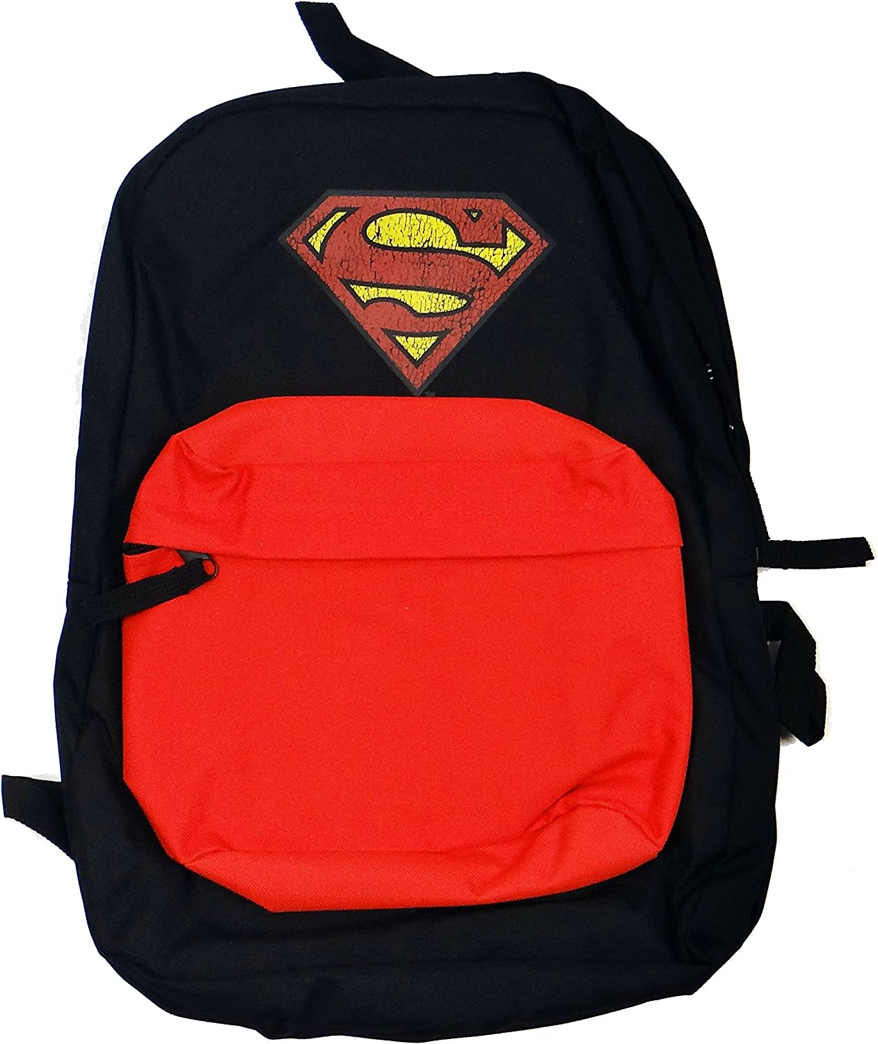 Superman Men s Front Pocket Backpack with Distressed Screen Print