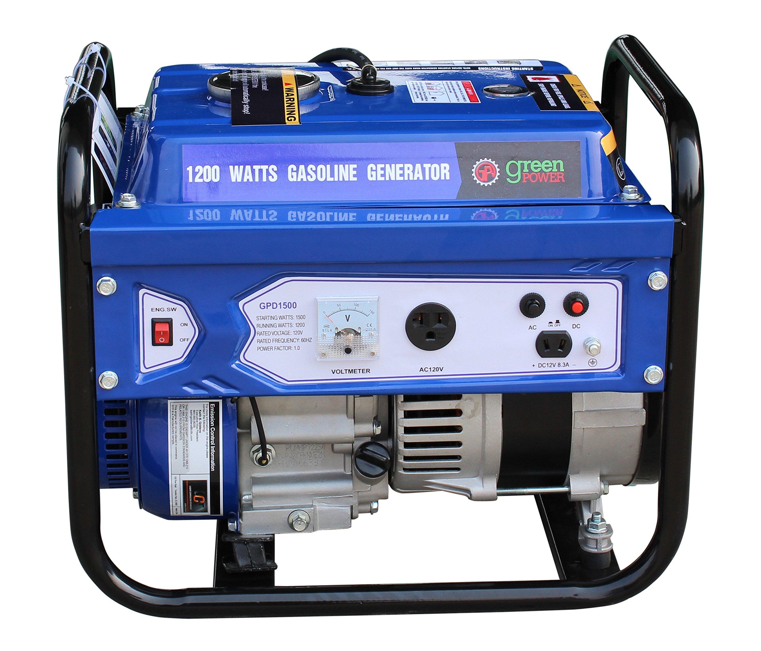 Green-Power America GPD1500 1500W Consumer Select Series Recoil Start Generator