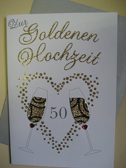 Champagne Cards - Tarjeta plegable Tarjeta Bodas de Oro 50 oro ...