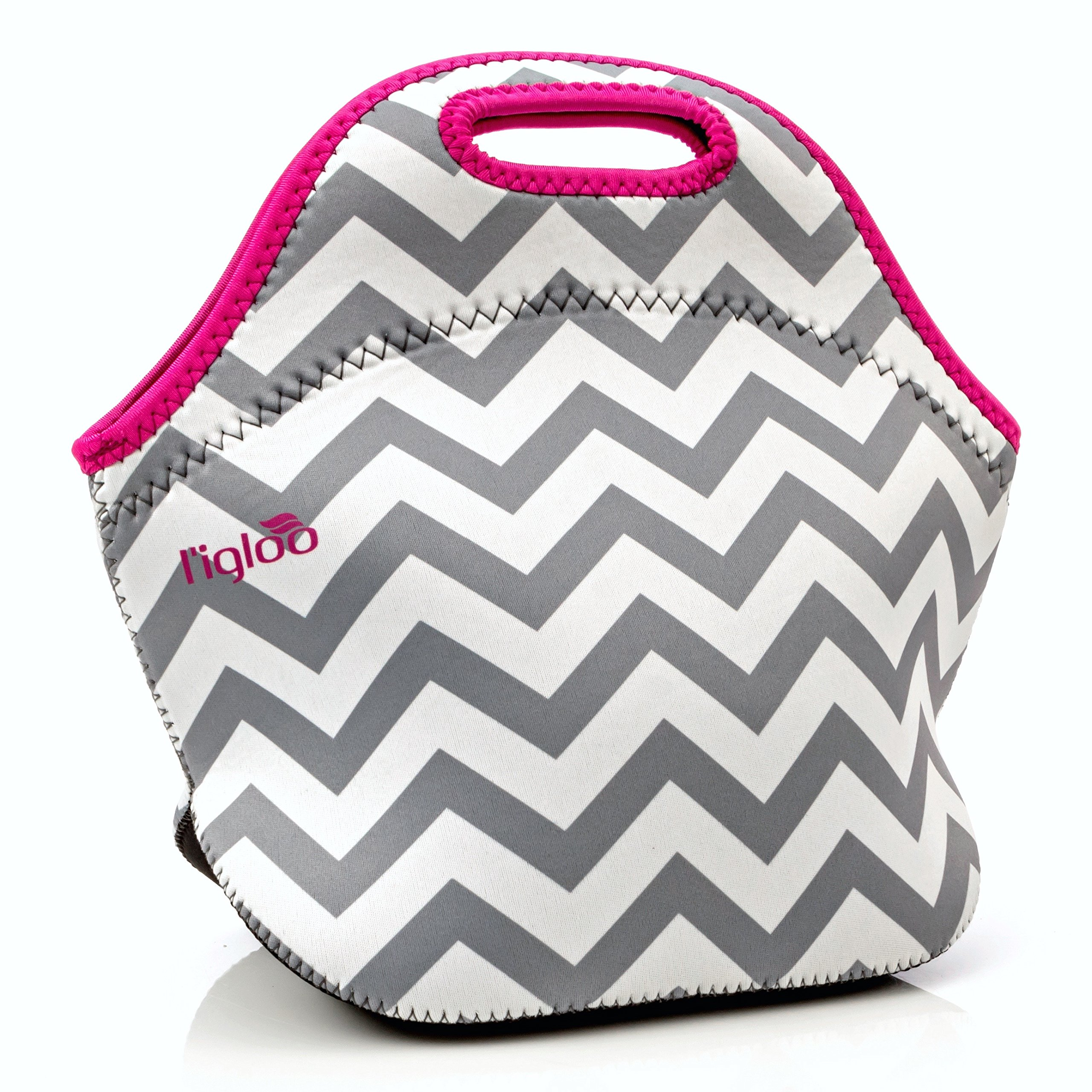 l'igloo Deluxe Neoprene Insulated Lunch Bag Extra Thick Lunch Box Tote Heavy Duty Zipper Use For Snacks, Baby Bottle Bag, Six Pack Bottle Carrier Cooler (Gray chevron/pink trim)