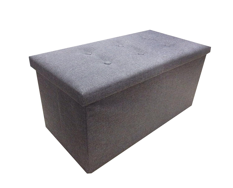 Ashley Mills New Large Ottoman Foldaway Storage Blanket Toy Box Bench Twill Linen with Buttons Lt Grey/Slate Grey 76x38cms