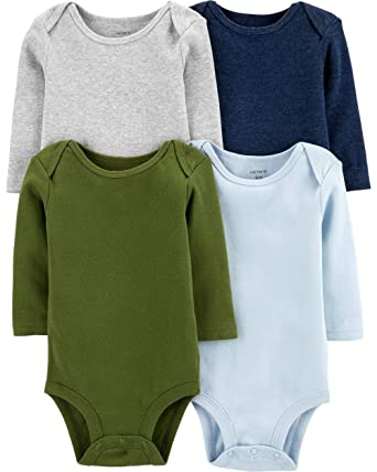 8462131a7 Amazon.com: Carter's Unisex-Baby 4-Pack Long Sleeve Bodysuits: Clothing