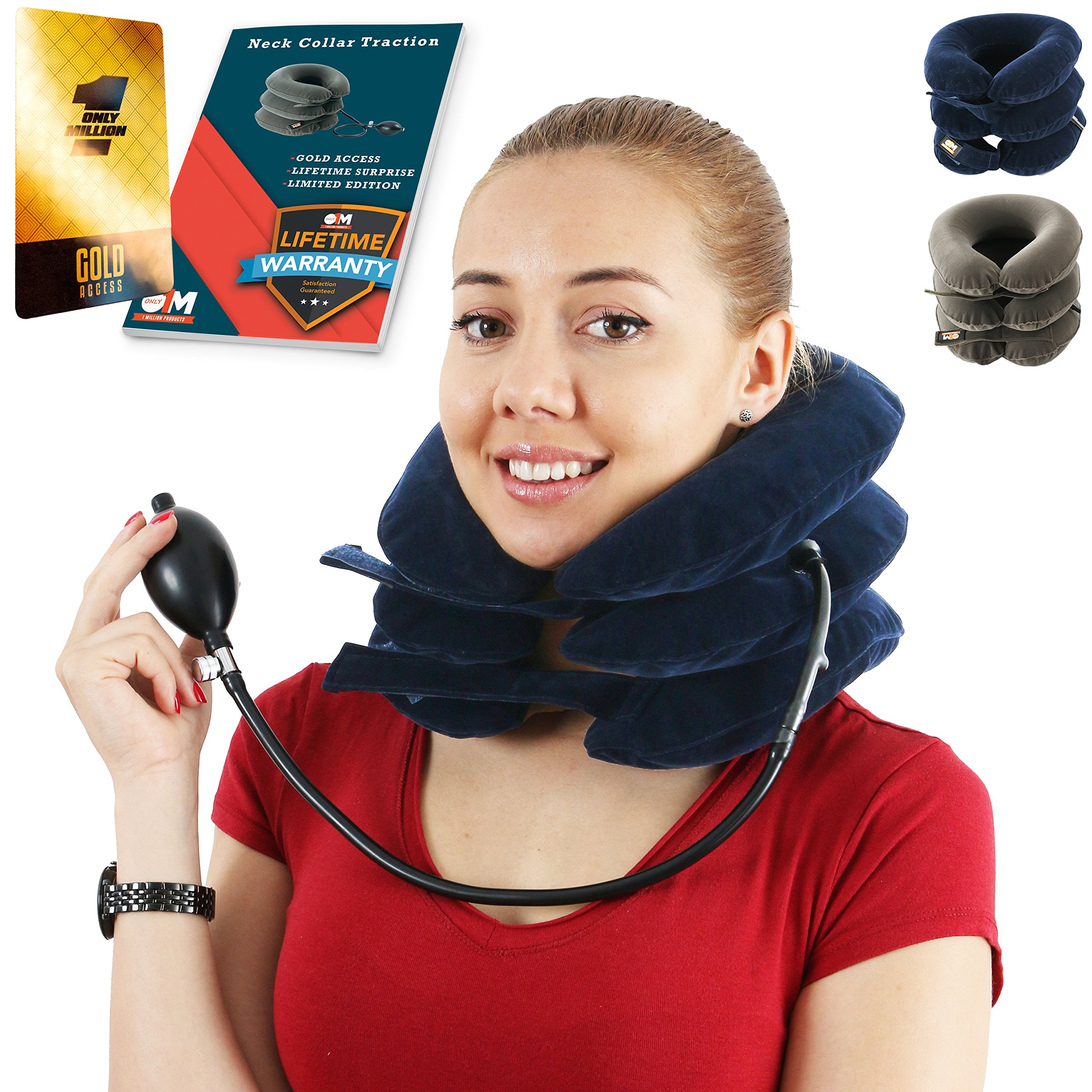 Neck Traction Collar for Men and Women – Cervical Brace for Home Use – Neck Stretch Pillow That Promotes Better Posture and Provides Pain Relief (Blue)