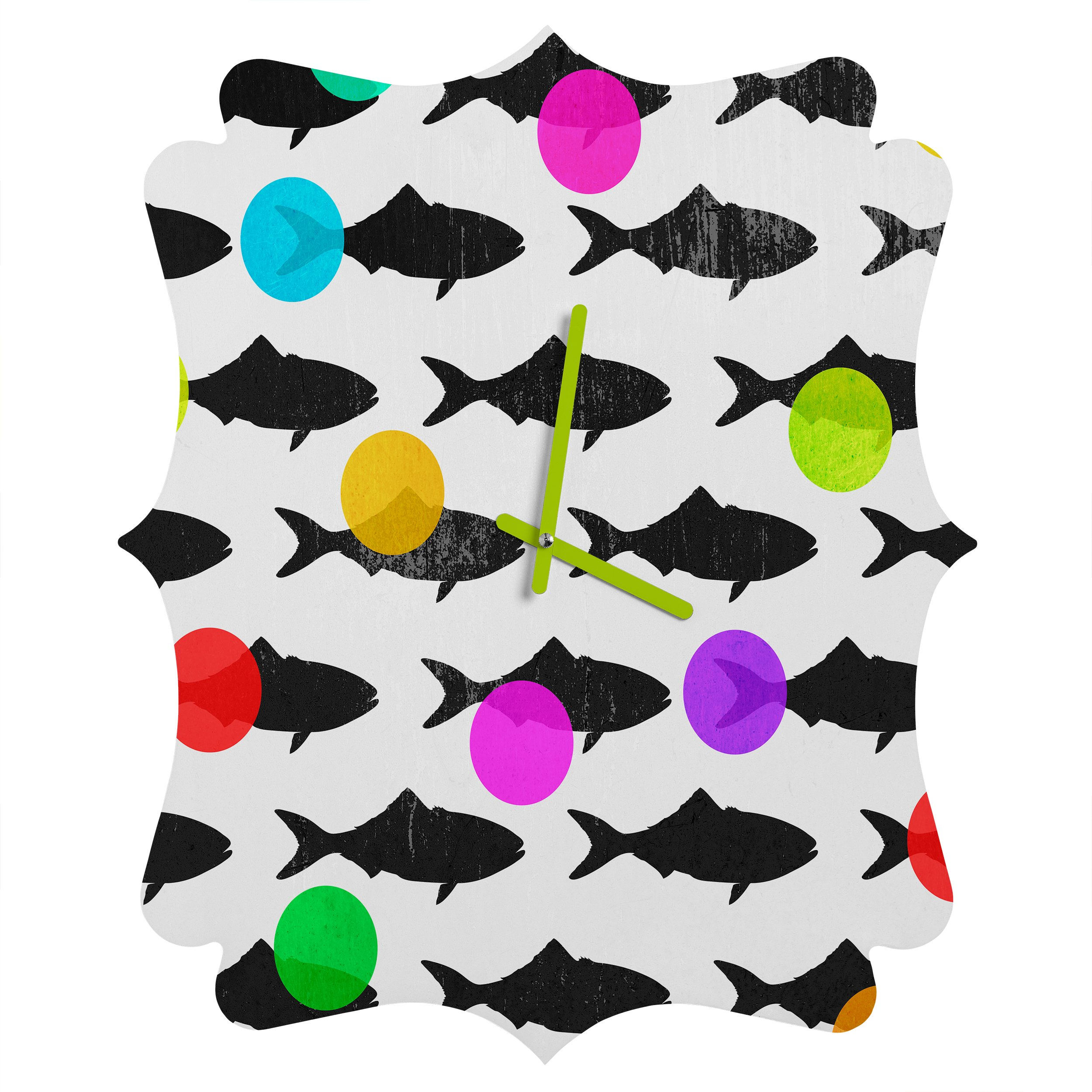 Deny Designs Elisabeth Fredriksson, Happy Fish, Quatrefoil Clock, Medium