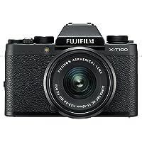"""Fujifilm Kit X-T100 Fotocamera Digitale 24MP, Ottiche Intercambiabili, Mirino EVF, Schermo LCD Touch da 3"""" Inclinabile a 180°, WiFi e Bluetooth + XC 15-45mm F/3.5-5.6 OIS PZ MILC, 24.2MP, CMOS, Nero"""