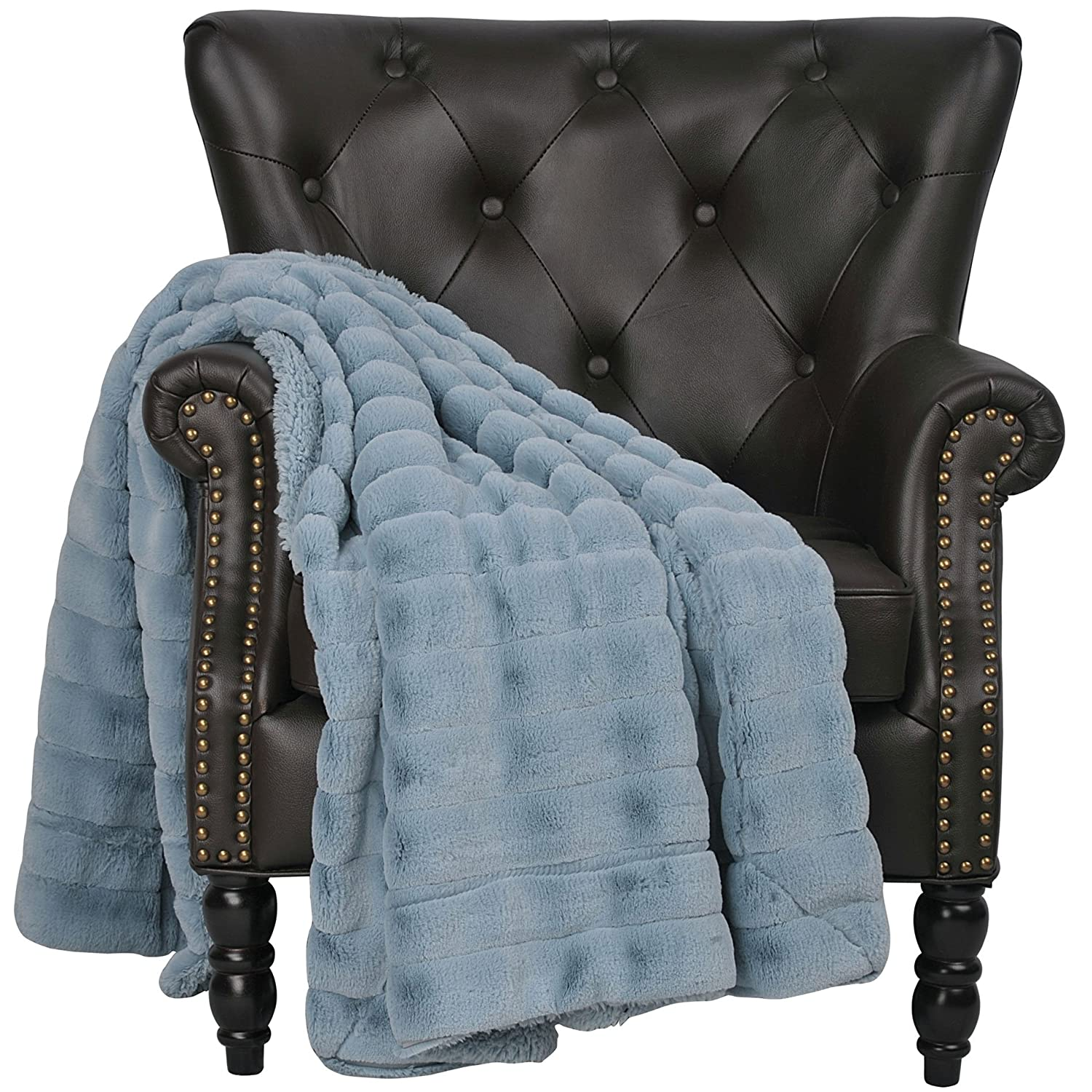 50 x 60 Bright White 50 x 60 BNF Home THRSM5060BW BOON Super Mink Faux Fur Throw with Micromink Backing