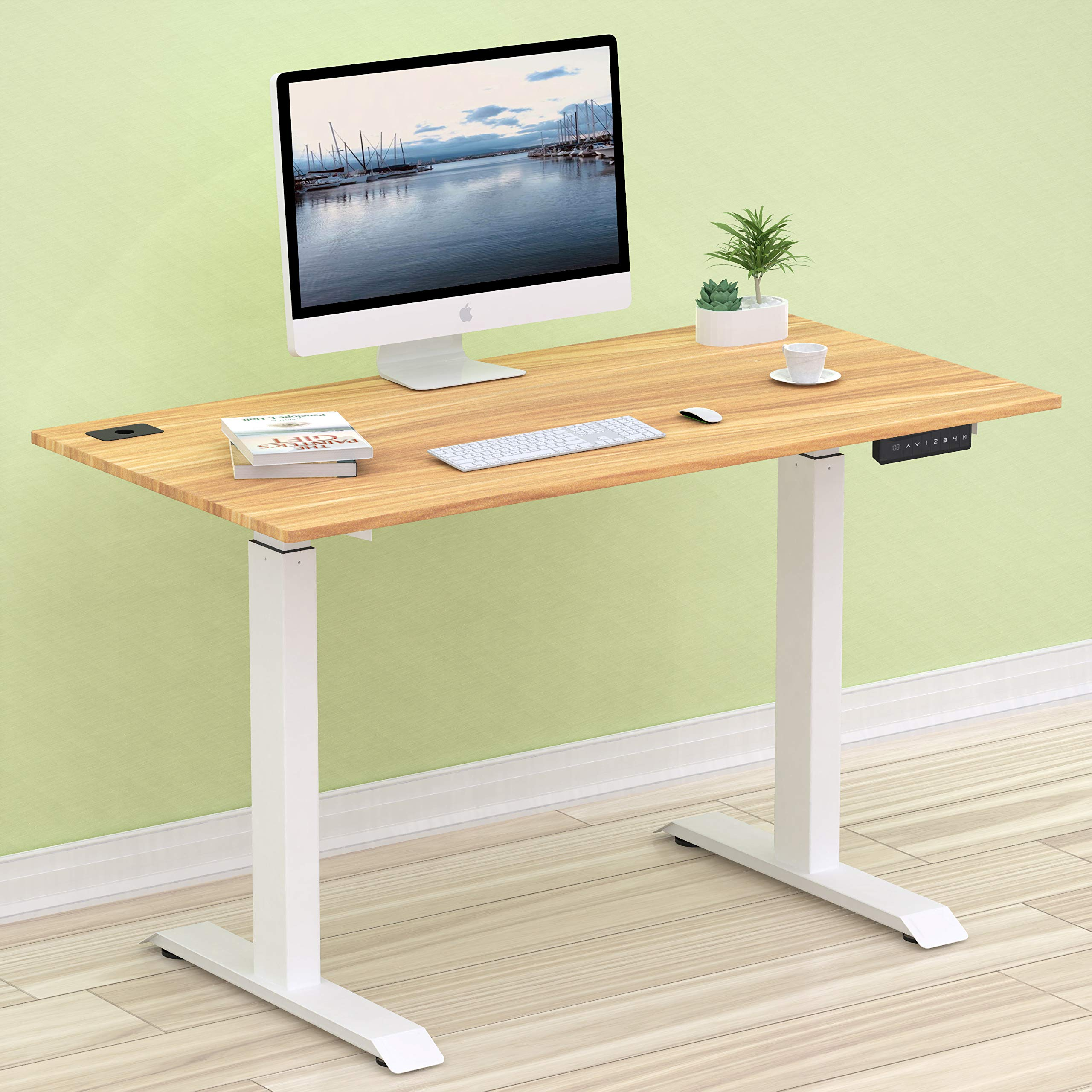 SHW Electric Height Adjustable Computer Desk, 48 x 24 Inches, Light Cherry by SHW