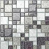 Mattonelle con mosaico in vetro, nero e argento opachi, con pietre, disponibili in tre diverse misure (MT0044) 30cm x 30cm