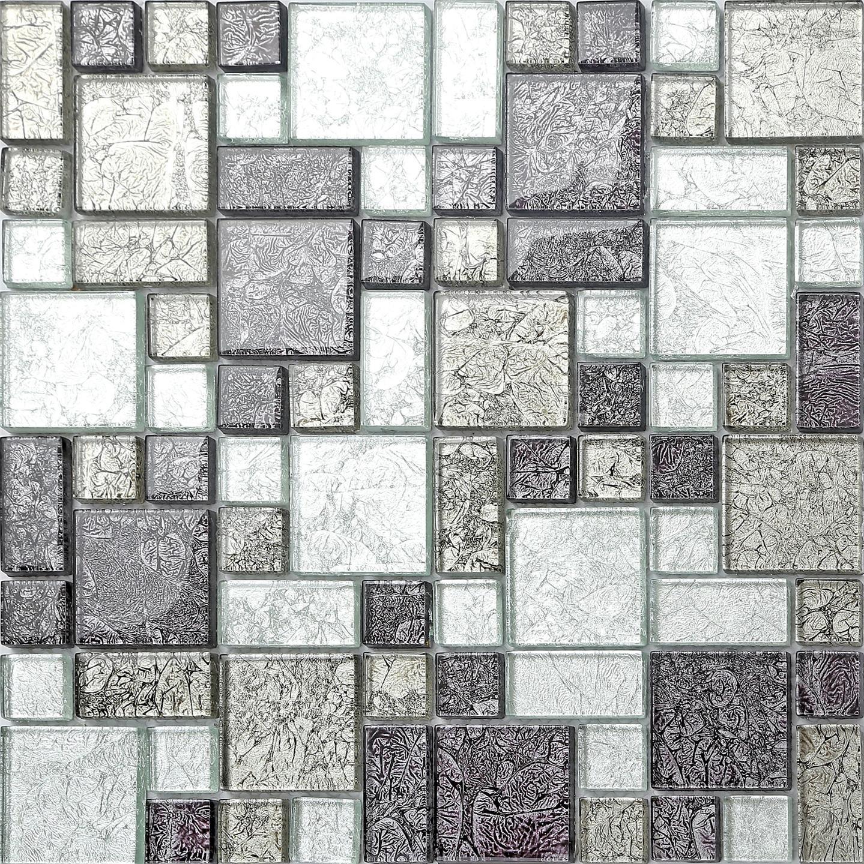 GTDE - Azulejos de Mosaico de Cristal Plateado y Negro con Brillantes en Tres tamañ os (MT0044 DE) Grand Taps