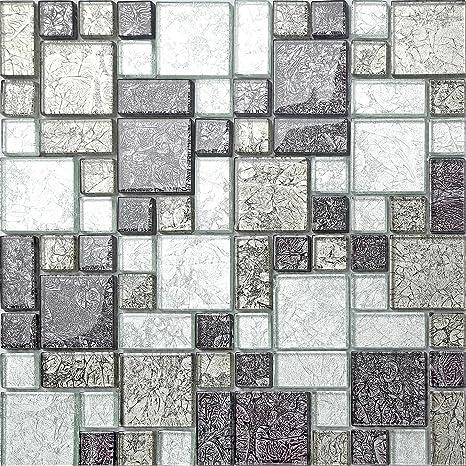 Glas Mosaik Fliesen Matte Schwarz Und Silber Mit Steinen In Drei