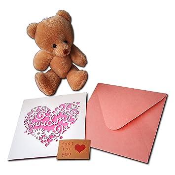 Juego de tarjetas de felicitación con diseño de corazón con oso de peluche marrón y sobre