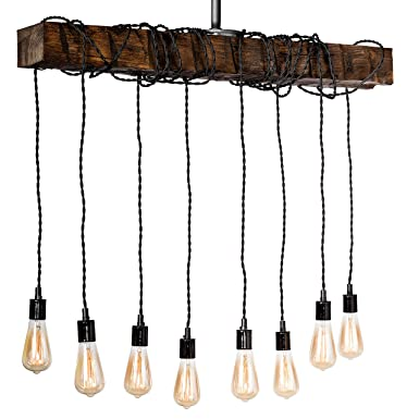 Farmhouse Lighting Hand Hewn Wrapped Beam Rustic Chandelier Light Fixture – Ceiling Light Ebony