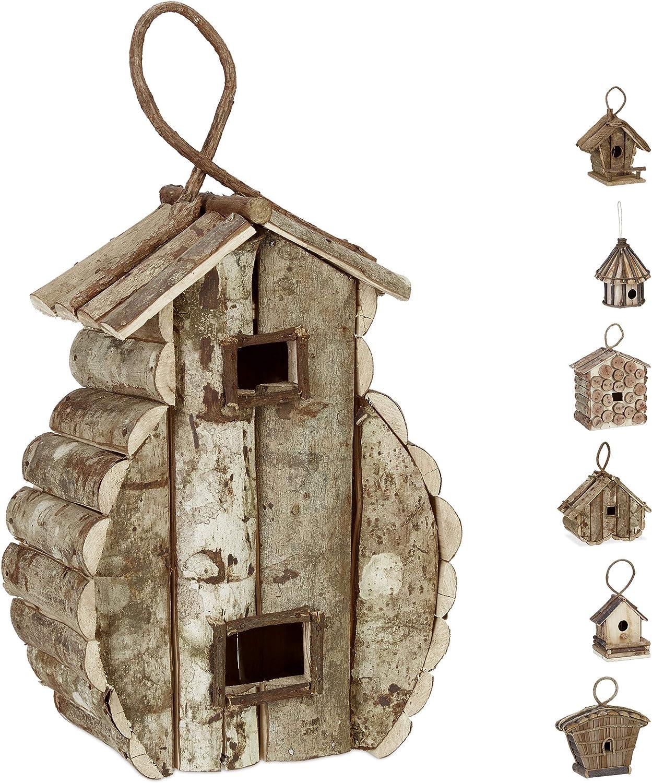 Relaxdays Casa para pájaros para Colgar, Madera Natural, Decoración de Exterior, Nido, 39x21x14 cm, 1 Ud, Marrón