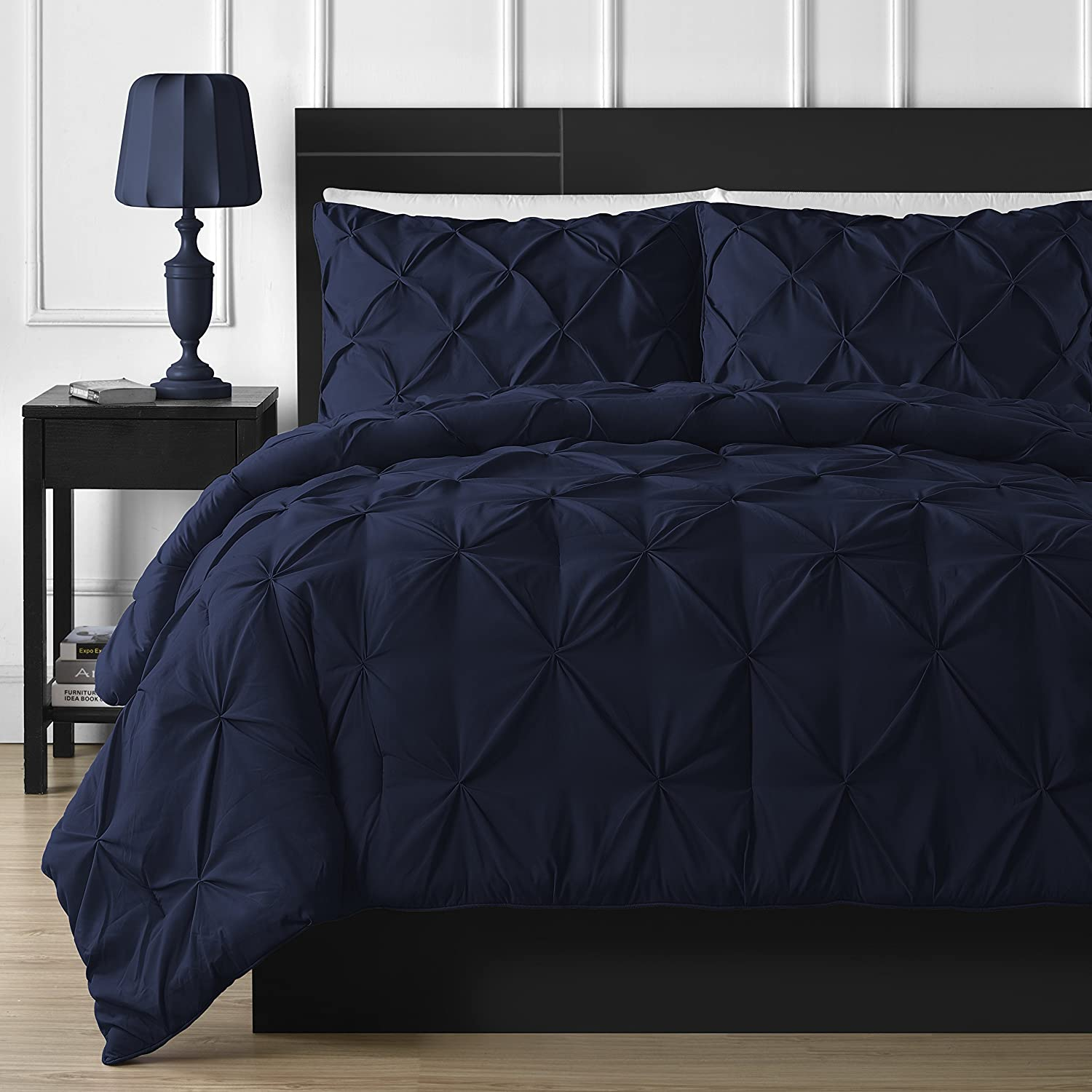 Double Needle Durable Stitching Comfy Bedding 3-Piece Pinch Pleat Comforter Set All Season Pintuck Style (King, Navy Blue