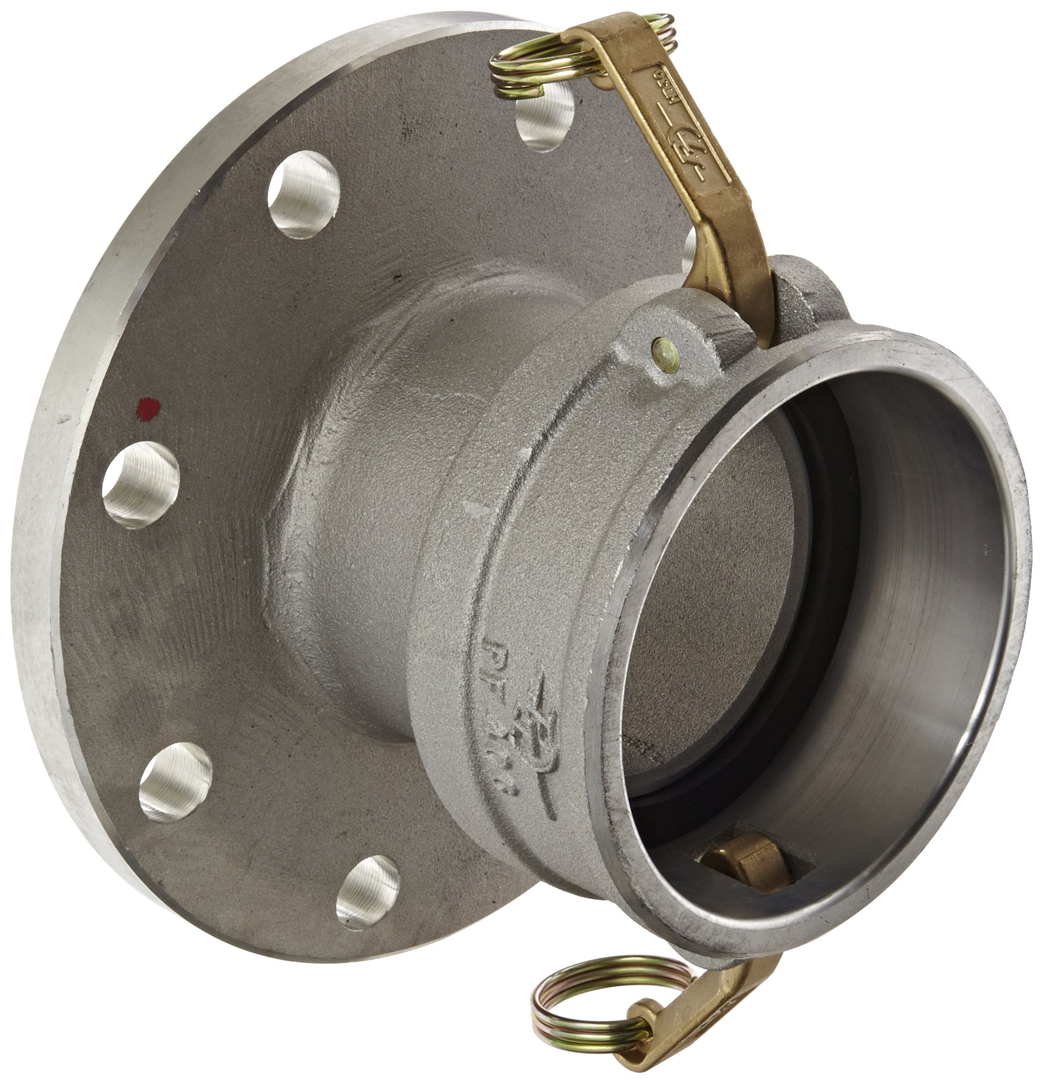 PT Coupling PFC Series PF40C Aluminum Cam and Groove Hose Fitting, Flange, Brass (HB) Cam Arms, 4'' Coupler x Pipe Flange