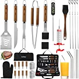 grilljoy 30PCS BBQ Grill Tools Set with Thermometer and Meat Injector. Extra Thick Stainless Steel Fork, Tongs& Spatula - Complete Grilling Accessories in Portable Bag - Perfect Grill Set Gift.