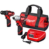 Milwaukee 2494-22 M12 Cordless Combination 3/8' Drill / Driver and 1/4' Hex Impact Driver Dual Power Tool Kit (2 Lithium…