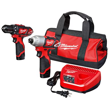 Milwaukee 2494-22 M12 Cordless Combination 3/8  Drill / Driver and 1/4  Hex Impact Driver Dual Power Tool Kit (2 Lithium Ion Batteries, Charger, and Bag Included)