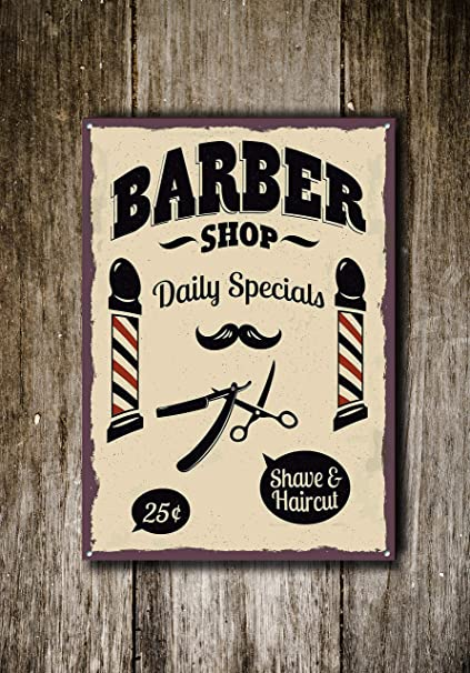 Amazon.com: Barber Shop Sign, Metal Sign, Barbershop Signs ...