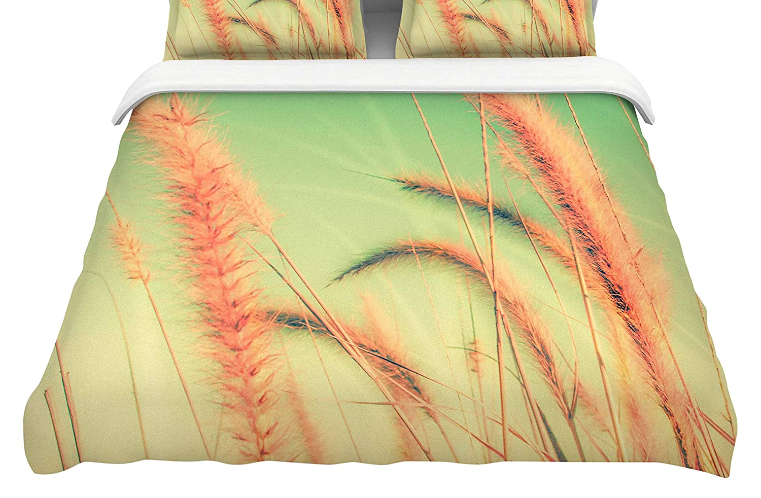 Kess InHouse Graphic Tabby Dancing in Spring Featherweight Queen Duvet Cover, 88 x 88,