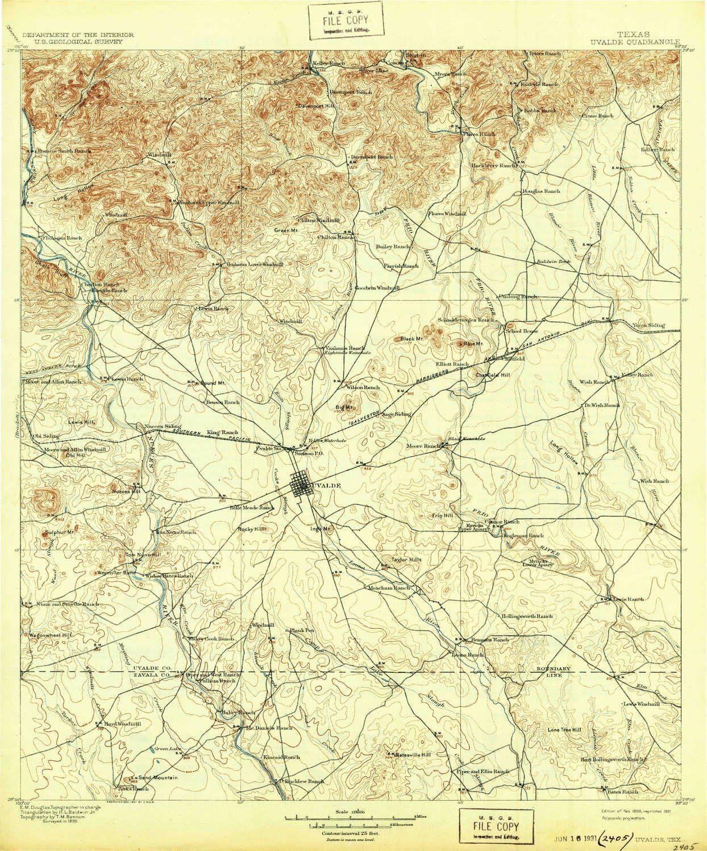 Amazon Com Yellowmaps Uvalde Tx Topo Map 1 125000 Scale 30 X 30
