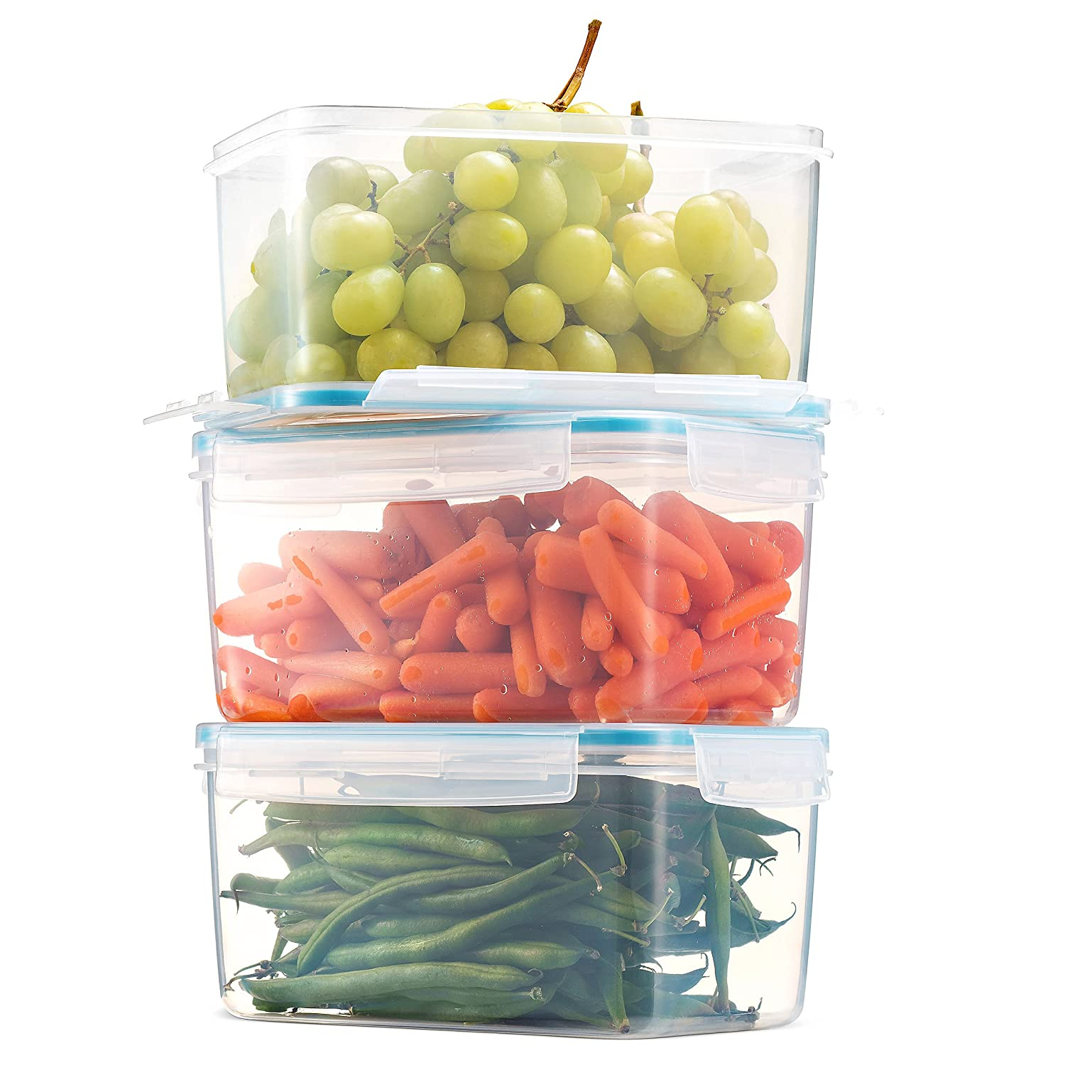 Komax Biokips Large Food Storage Container 81oz. (set of 3) - Airtight, Leakproof With Locking Lids - BPA Free Plastic - Microwave, Freezer and Dishwasher Safe - Great For Fruit & Vegetables