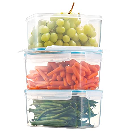 Vegetables Storage Containers Amazon komax biokips large food storage container 81oz set of komax biokips large food storage container 81oz set of 3 airtight workwithnaturefo