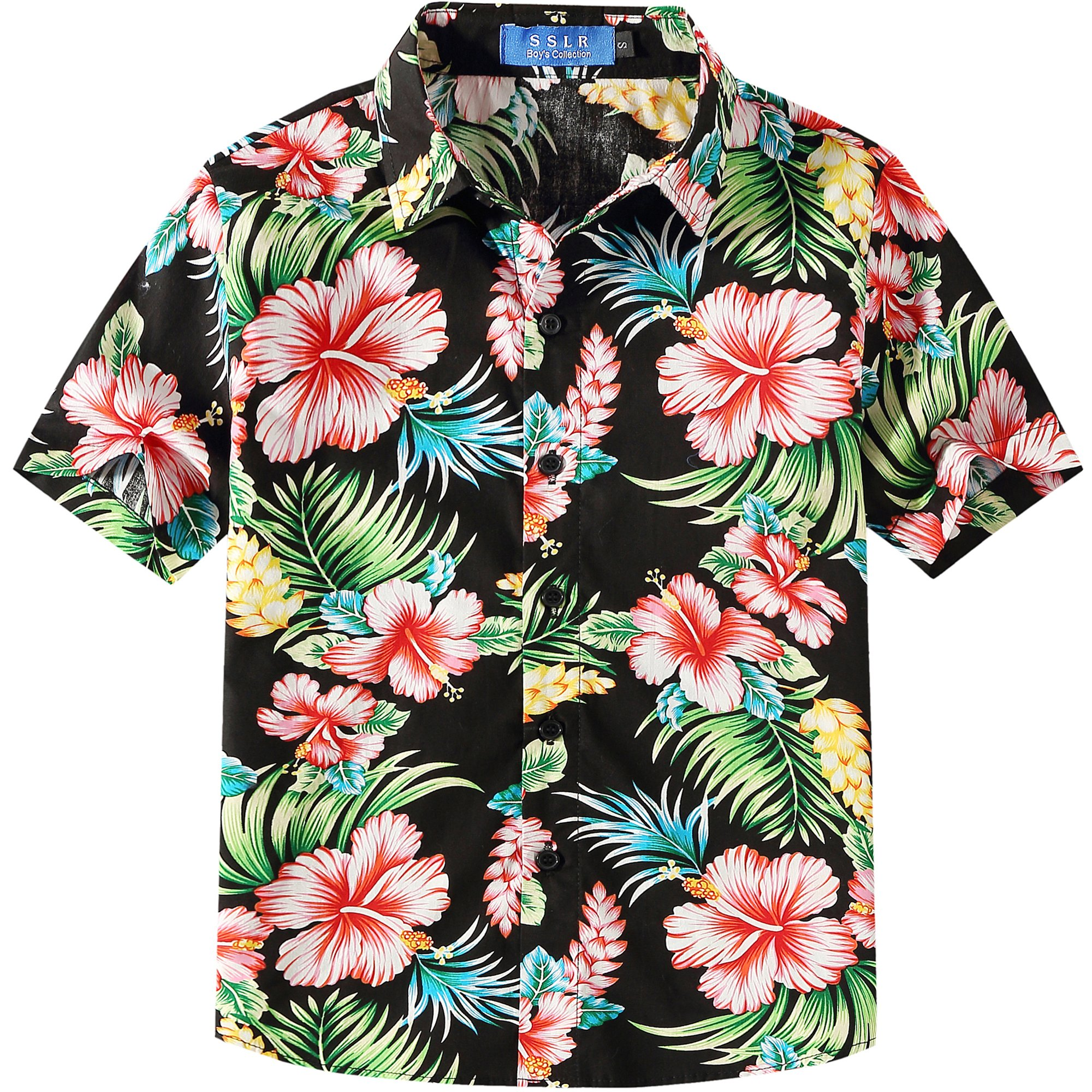 SSLR Big Boy's Hibiscus Cotton Short Sleeve Casual Button Down Hawaiian Shirt (Small(8), Black)