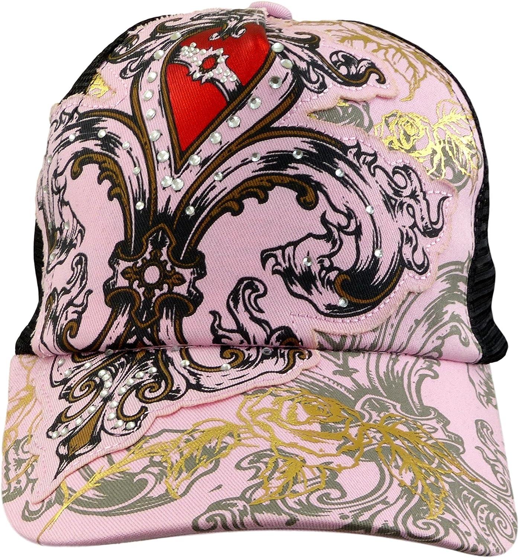 Blazin Roxx Ladies Cap Pink Heart N Roses