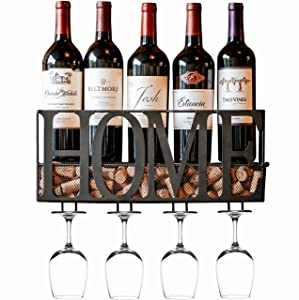 MKZ Products Wall Mounted Metal Home Wine Rack | Wine Bottle | Hanging Stemware Glass Holder | Cork Storage | Storage Rack | Home & Kitchen Decor