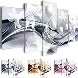 Quadro 200x100 cm ! Tre colori da scegliere - 5 Parti - Grande formato - Quadro su tela fliselina - Stampa in qualita fotografica -- Astrazione Fiore b-A-0226-b-n 200x100 cm B&D XXL