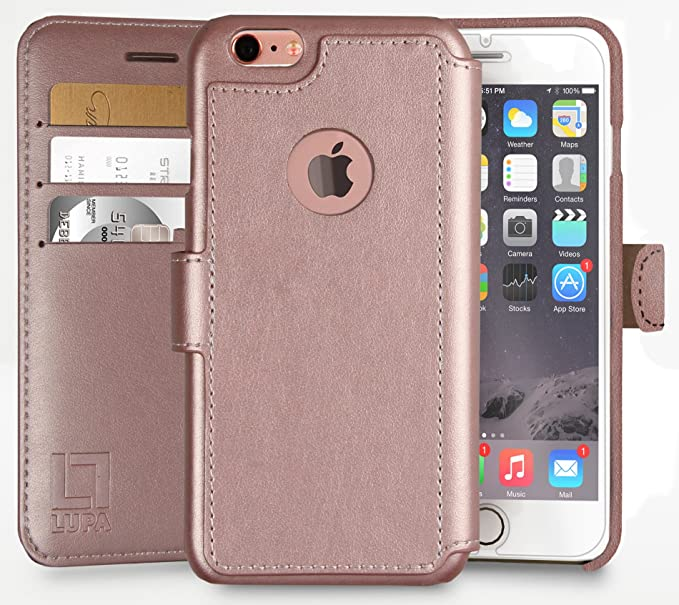 factory authentic ee0f0 b6447 iPhone 6 Plus,6S Plus Wallet Case | Durable & Slim | Lightweight, Classic  Design & Ultra-Strong Magnetic Closure | Faux Leather | Rose Gold | Apple  ...