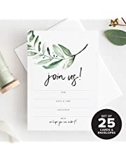 25 Invitations with Envelopes for All Occasions Greenery Invites Perfect for: Weddings Bridal Showers Engagement Birthday Party or Special Event Fill in Rustic invites from Bliss Collections