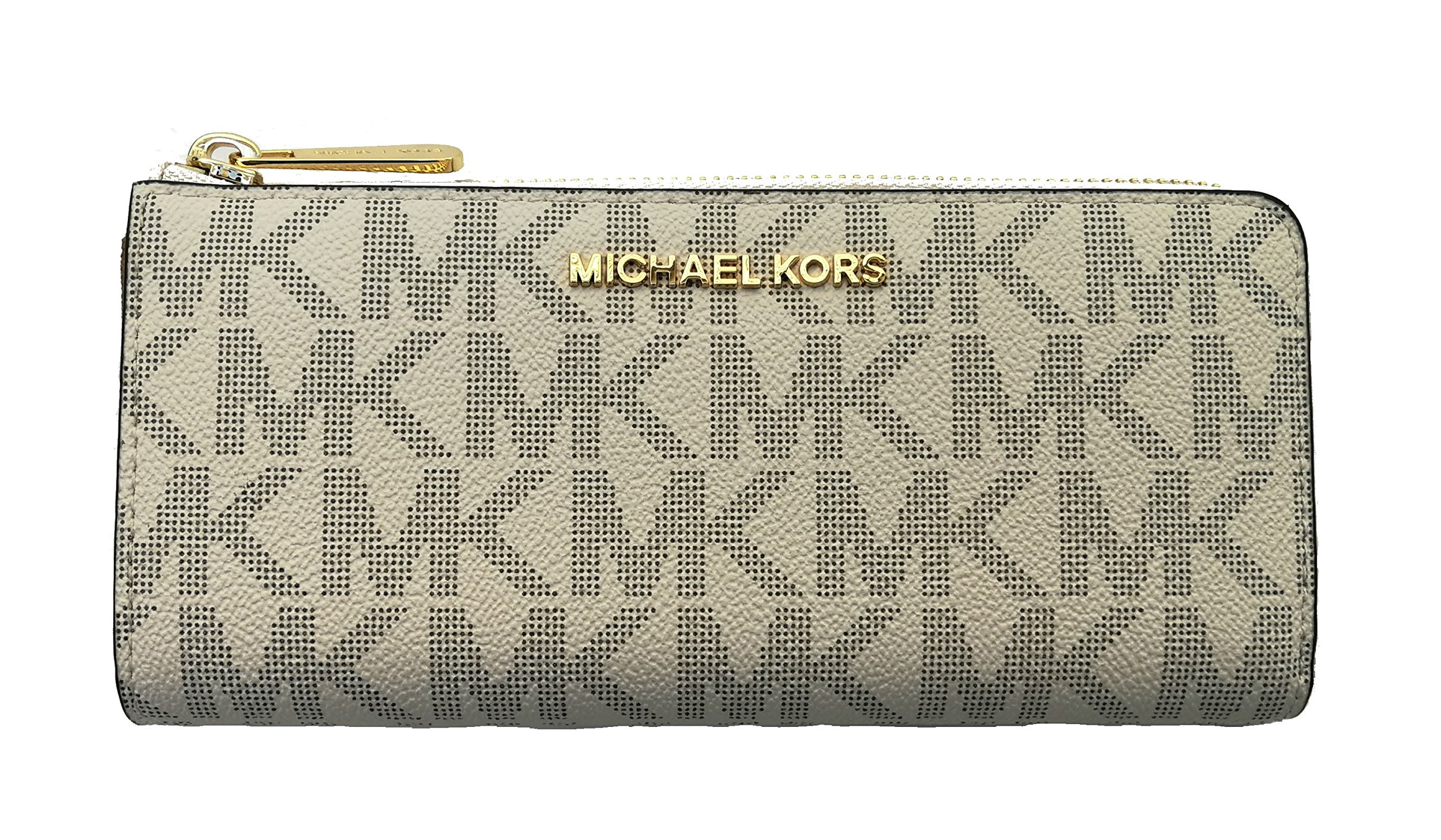 Michael Kors Bedford Large Three Quarter Zip Around Pebbled Leather Wallet Vanilla/Acorn by Michael Kors