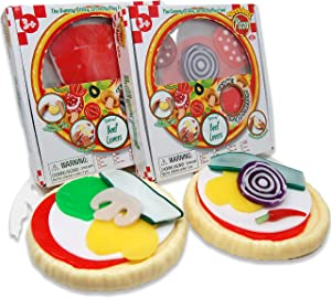 Stretcheez Pizza Two Pack - Play Food for Kids - Stretchy Pretend Food & Toppings - Mix & Match - Collect Them All - Works with Role Play Kitchens - Twelve Assorted Sets Available for Boys & Girls