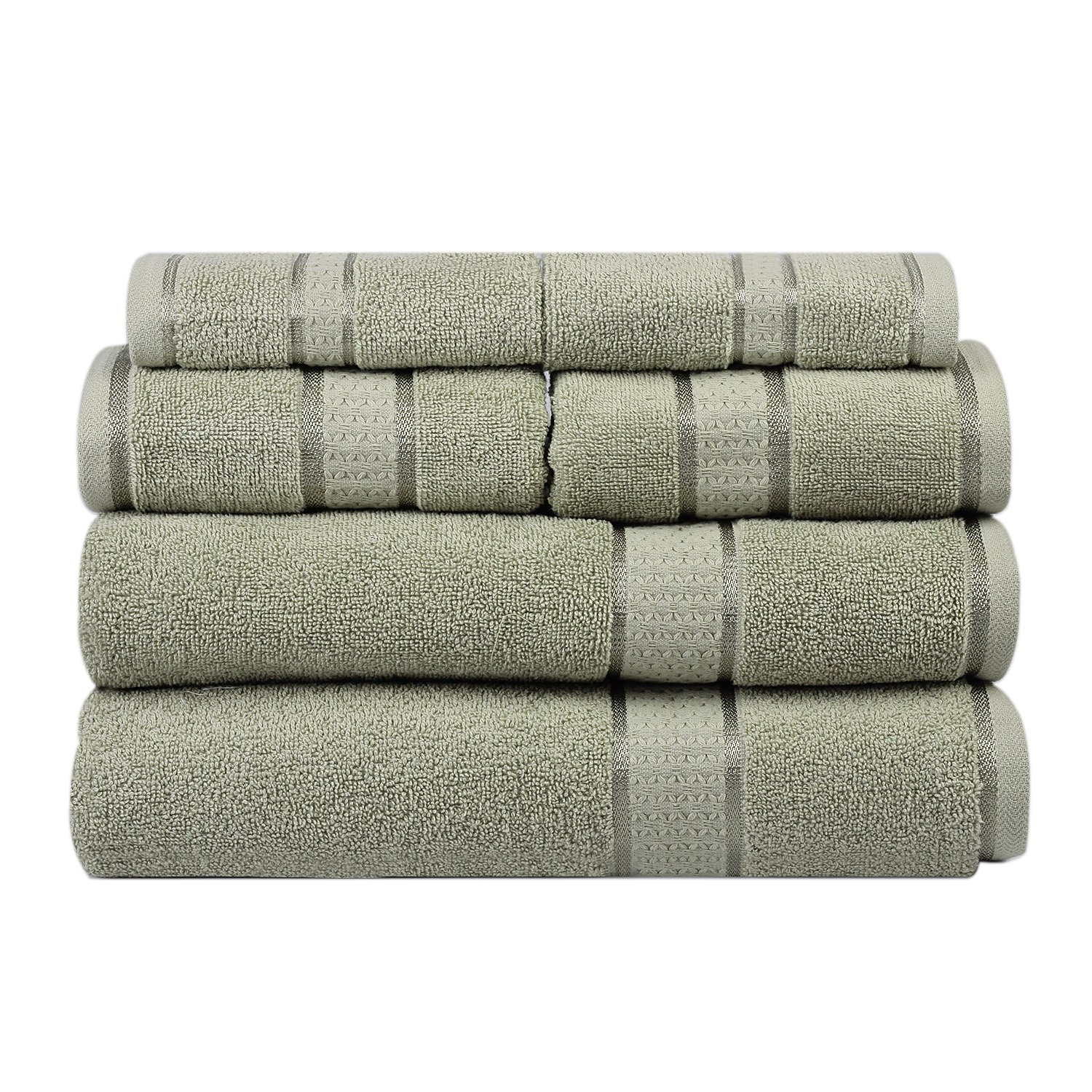 Ultra Soft 100% Cotton 6 Piece Towel Set (Sage Green): 2 Bath Towels, 2 Hand Towels, 2 Washcloths, Long-staple Cotton, Spa Hotel Quality, Super Absorbent, Machine Washable