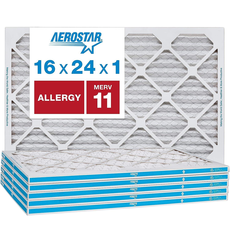 Aerostar Allergen & Pet Dander 16x24x1 MERV 11 Pleated Air Filter, Made in the USA, 6-Pack