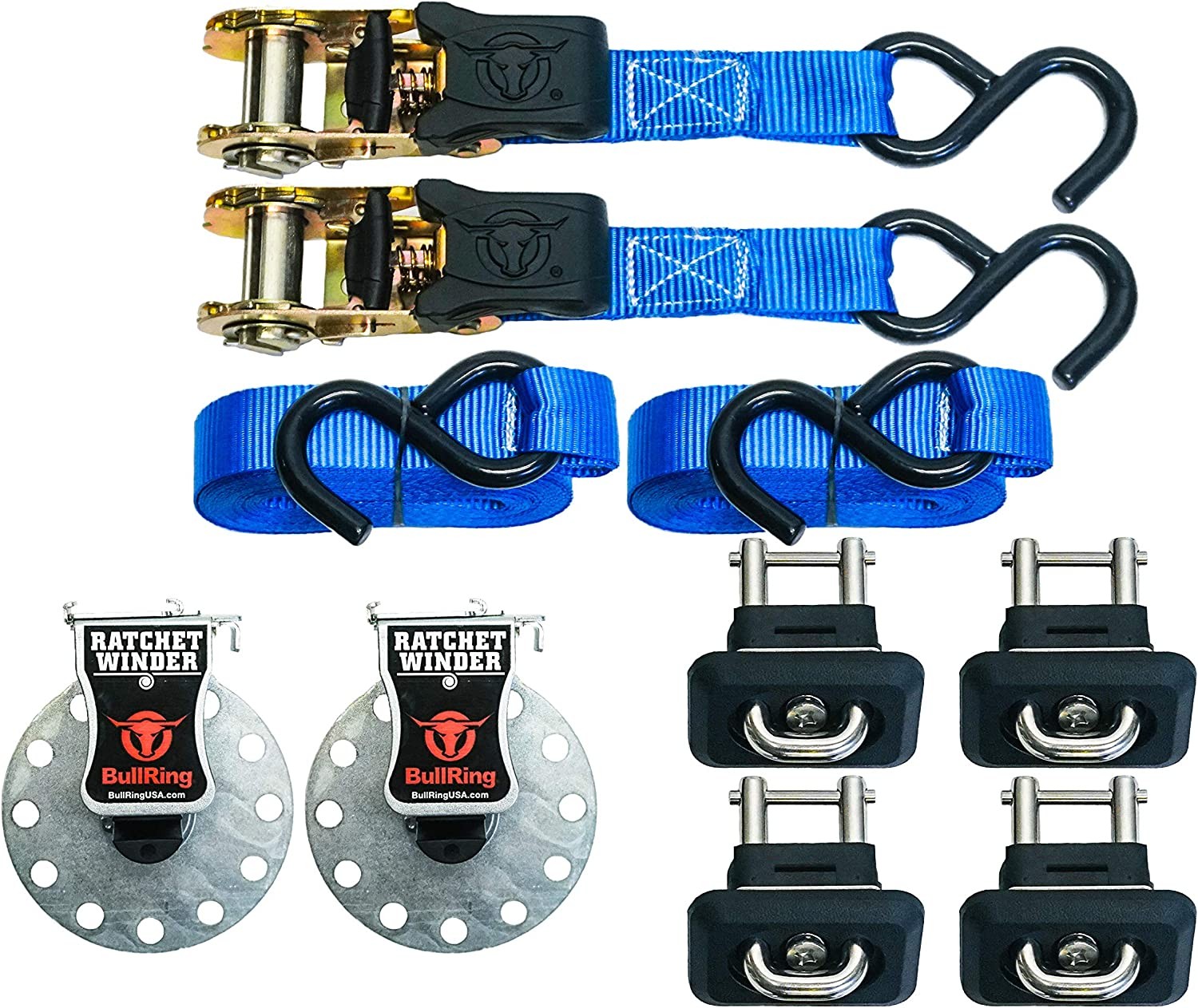 Cargo Combo 2 Pair 1001 GM Tie Downs with 2 Ratchet Straps 1 x 15 and 2 New Ratchet Winders Bull Ring Tie Downs
