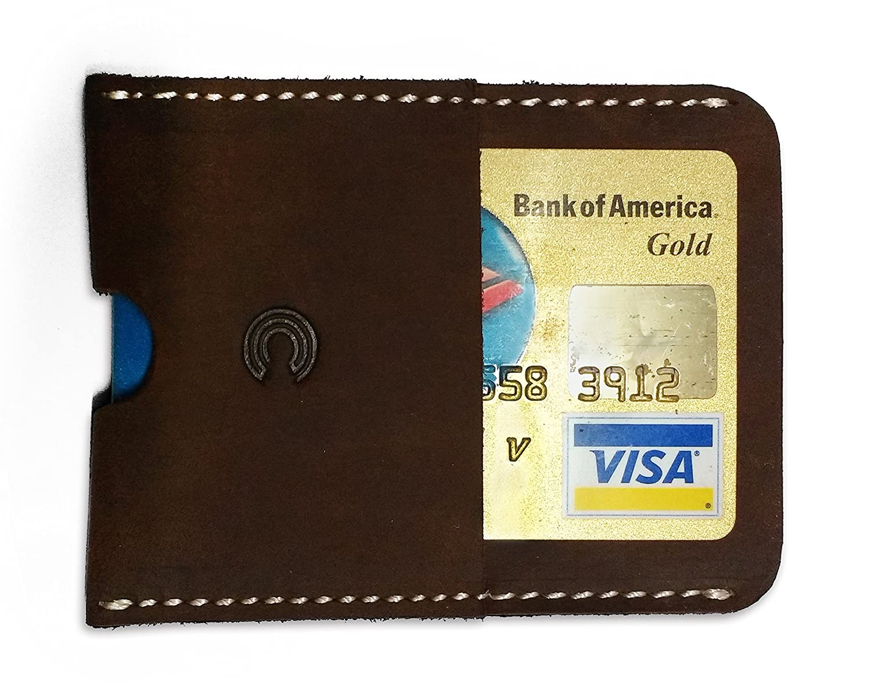 CLIFFHANGER Slim Minimalist Leather Card Holder for Men (Brown) - Tough & Rugged