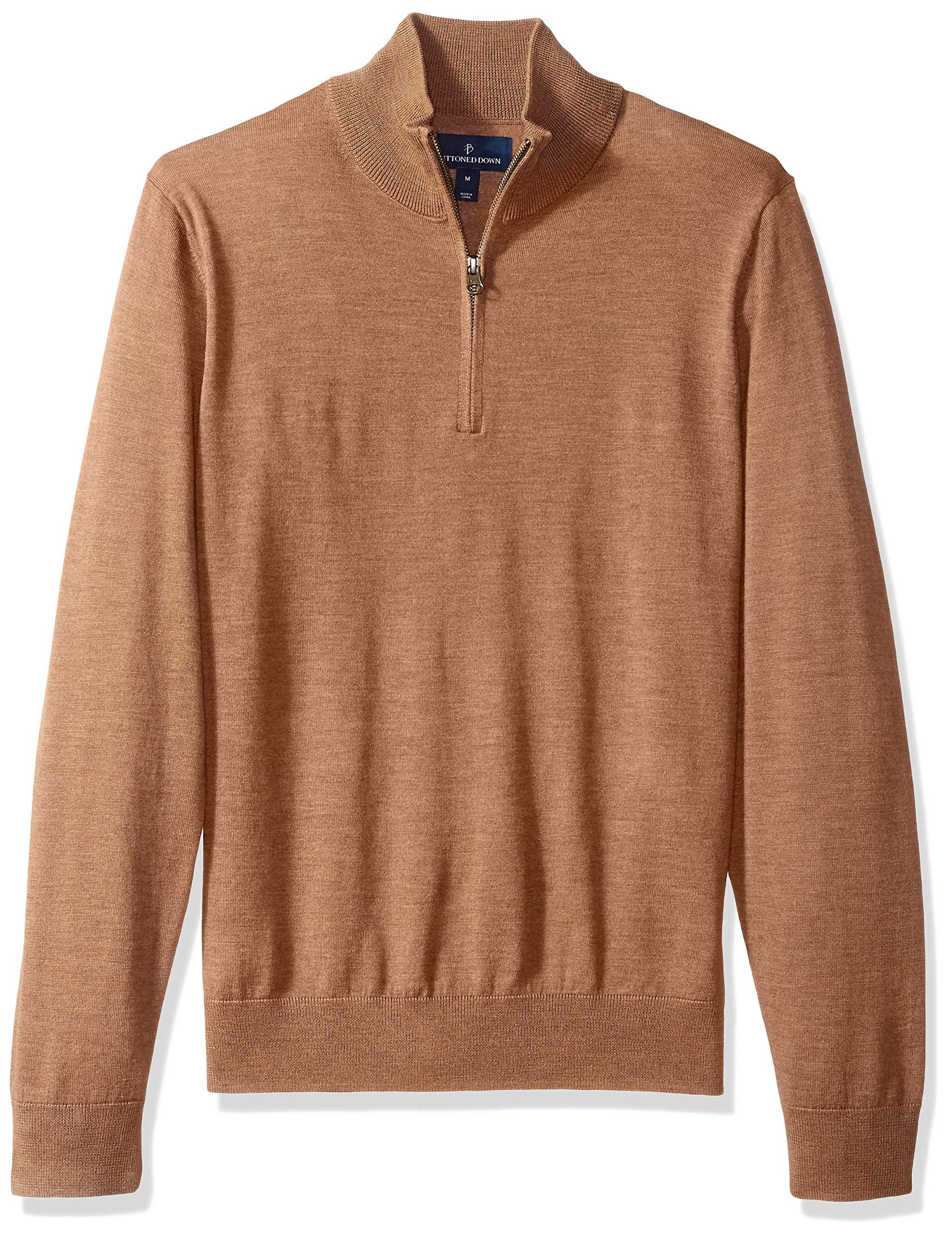 BUTTONED DOWN Men's Italian Merino Wool Lightweight Cashwool Quarter-Zip Sweater, Brown Heather, Medium