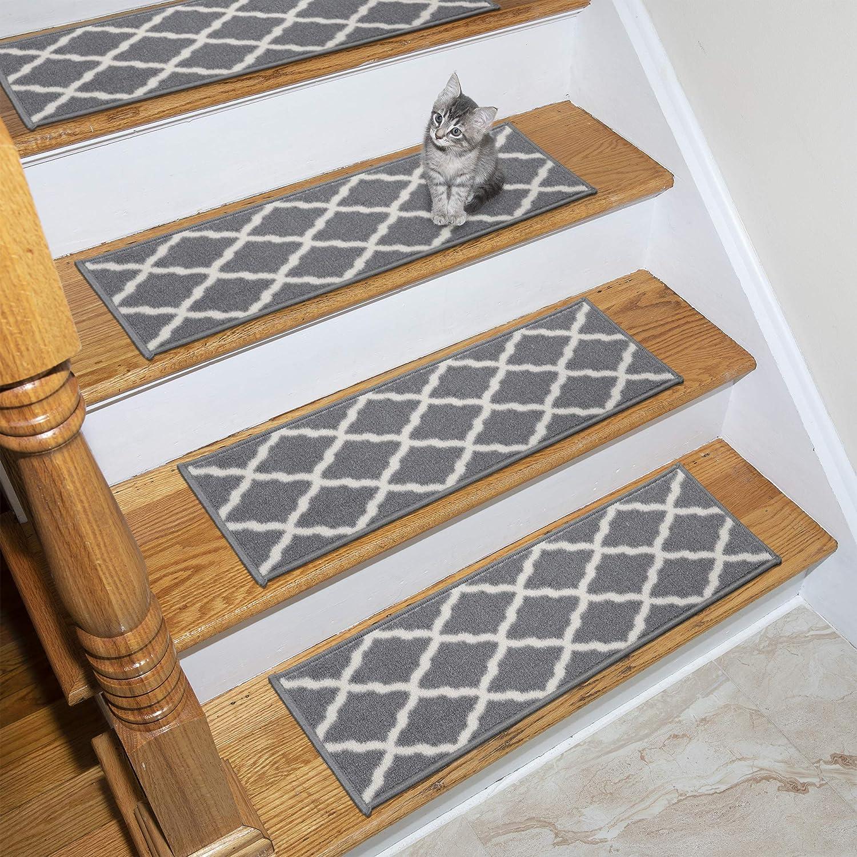Amazon Com Ottomanson Glamour Stair Tread 13 Pack Gray Furniture Decor
